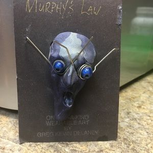 Jewelry - Creepy Gothic Wearable Art Face Pin Artist Piece